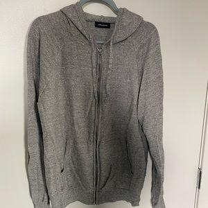 Jcrew Heathered Grey Zip Up Sweater